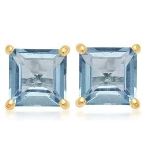 Gold, December Birthstone, Blue Topaz 6 mm Square Earrings Jewelry