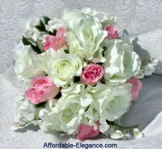PINK CREAM Roses Silk Bouquets WEDDING Flowers SET NEW
