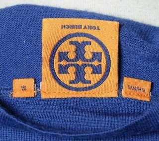 Tory Burch Royal Blue Logo Button Cardigan Classic Merino Wool Sweater
