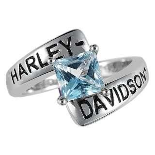 Harley Davidson Silver Crossroads Birthstone Ring   March Aqua Blue