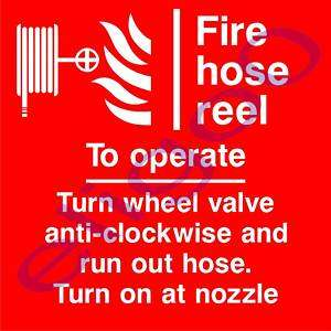 FIRE HOSE REEL TO OPERATE warning sticker decal