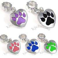 Cat Paw Silver Dangle European Spacer Charm Bead For Bracelet Necklace