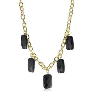 Privileged NYC Onyx Five Stone Gold plated Chain Necklace