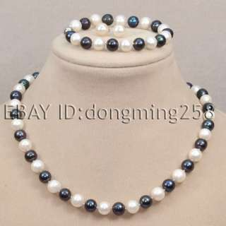 9mm polychrome fresh water round pearl necklace bracelets earrings d67