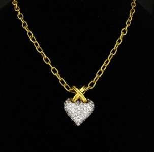 Gregg Ruth Pave Diamond 18K Gold Heart Pendant Necklace