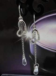 Korean White Rhinestones Crystal Heart Dangle Earrings JE244 On Sale