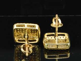 10K MENS LADIES YELLOW CANARY YELLOW DIAMOND PAVE STUDS EARRINGS DOMED