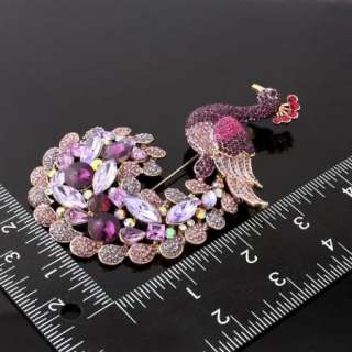 ARINNA Swarovski Crystal peacock purple lady Brooch Pin