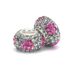 Bella Fascini Gray & Raspberry Pink Flowers Swarovski Crystal Element