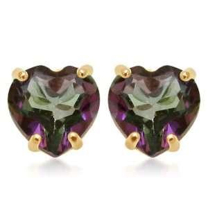 Gold, June Birthstone, Mystic Topaz 5 mm Heart Earrings Jewelry