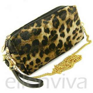 Sexy Leopard Print Clutch Purse Bag with Detachable Shoulder Strap