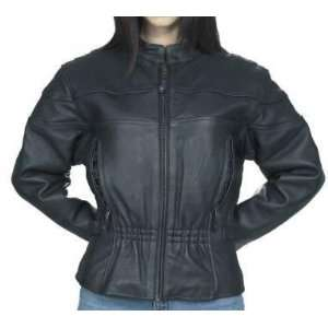 Womens Leather Motorcycle Jacket, Vented, Zip Out Lining
