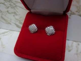 CARAT ROUND BAGUETTE WHITE DIAMOND STUD EARRINGS 10K WHITE GOLD