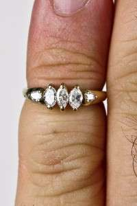 Gold .66ctw G SI1 Marquise Cut Diamond Engagement Ring Sz 4.5