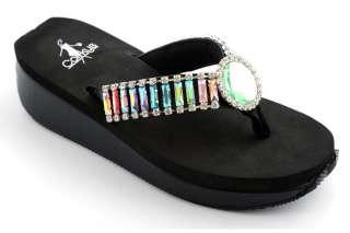 NIB Womens Corkys Eliza Multi Colored Bling Black Flip Flops