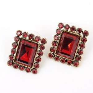 Shaped Ruby Red Rhinestone Crystal Lady Charm Stud Earrings Jewelry