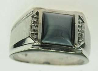 MENS 10K WHITE GOLD BLUE GRAY DIAMOND ESTATE RING 187119