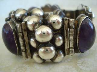 MEXICO MEXICAN STERLING SILVER AMETHYST BEADS BRACELET JEWELRY