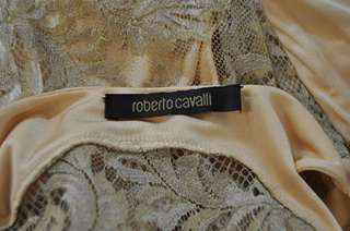 New $2900 Roberto Cavalli Lace Detail Beige Dress Sz 40