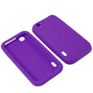 Soft Purple Gel Skin Cover Case For LG T Mobile myTouch + Car Charger