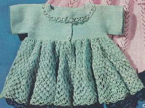 Sweater Dress on Vntg Thread Crochet Pattern Baby Sacque Sweater Dress