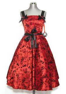 Hell Bunny Red Black Tattoo 50s Rockabilly Prom Dress