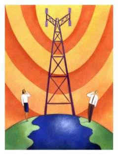Business People on Phones by Cell Phone Communication Tower Posters at