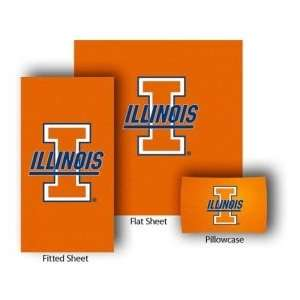 Illinois Fighting Illini Twin Size Sheet Set Sports