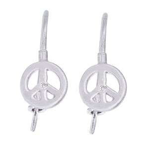 14k White gold PEACE SIGN drop earrings with White diamonds Jewelry