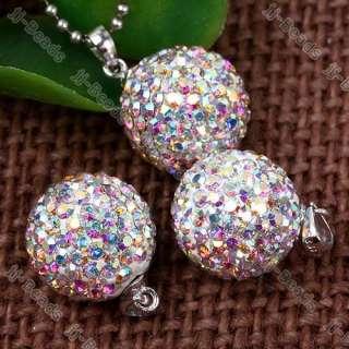 925 Silver AB Crystal Rhinestone Bead Round *Pendant