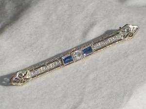 ANTIQUE ART DECO 1/2 ct DIAMOND SAPPHIRE BAR PIN BROOCH JEWELRY