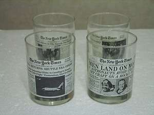 WENDYS LIMITED EDITION SET OF 4 NEW YORK TIMES BEVERAGE GLASSES