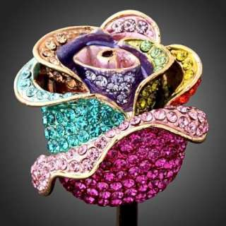 Stunning Rose Swarovski Crystal ARINNA Gold GP Ring