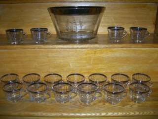 Silver Rimmed Punch Bowl & Cups w/ R Etched in Glass