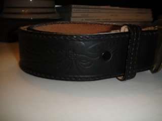 VINTAGE 1970S Black Leather HAND TOOLED BELT BOHO