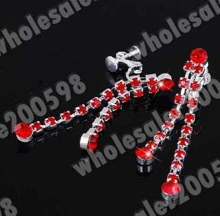 Red Rhinestone Crystal Fringe Necklace+Earrring 1Set