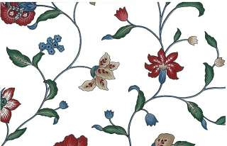 Wallpaper Waverly Floral Vintage Flowers Red Blue Taupe Green White