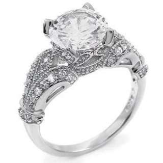 2Ct.Cubic Zirconia Sterling Silver Antique Wedding Ring