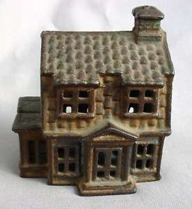 COLONIAL HOUSE W / PORCH ANTIQUE CAST IRON BANK CI782