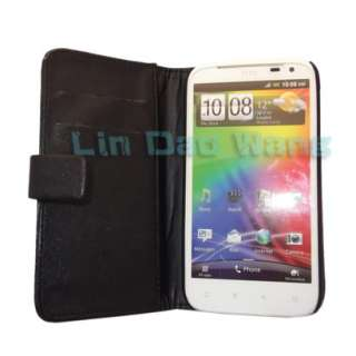 Black Wallet Leather Case Cover Pouch + Screen Protector For HTC