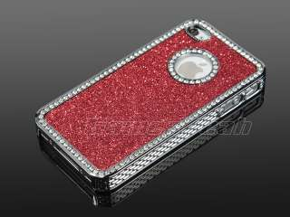 Red Luxury Bling Glitter Diamond Chrome rhinestone Hard Case For