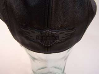 Harley Davidson Motorcycle Leather Cap Hat L