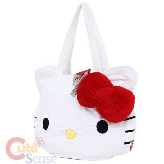 Hello Kitty Face Plush Shoulder Bag Hand Bag w/ 3D Red Bow