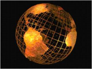Copper Globe Earth Map Counted Cross Stitch Pattern