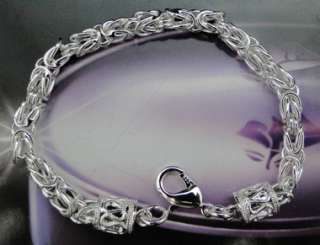 925 Sterling Silver Plated Circle Charm Bracelet JB257