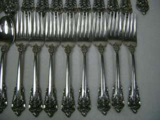 WALLACE STERLING silver FLATWARE SET GRANDE BAROQUE 36 PIECE 70 ozt