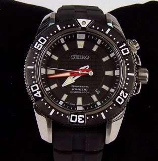 Seiko Watch Sportura Kinetic Divers Date Black Rubber SKA513 $550 NEW