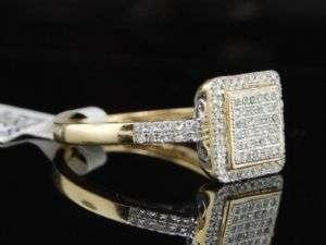 LADIES YELLOW GOLD PAVE ENGAGEMENT SQUARE DIAMOND RING