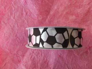 SOCCER BALL WHITE Satin RIBBON ROLL~~~ 25 YARDS Hair Bow Sports