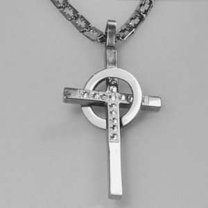 Mens Jewelry Brilliant Crystals Studded Silver Stainless Steel Cross
